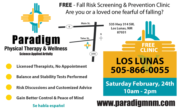 Fall Risk Screening and Prevention – Part 4: Attend Paradigm's Fall-Risk Screening Clinic on 2/24/2018